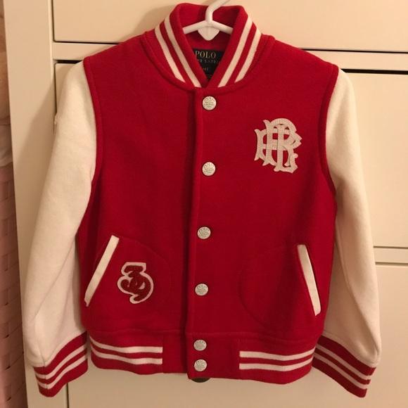 Ralph Lauren Jackets Coats Polo 4t Girl Varsity Jacket Red White