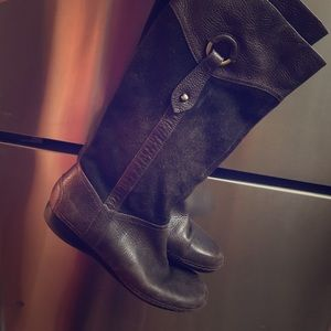 Chocolate Brown Leather Knee Boots