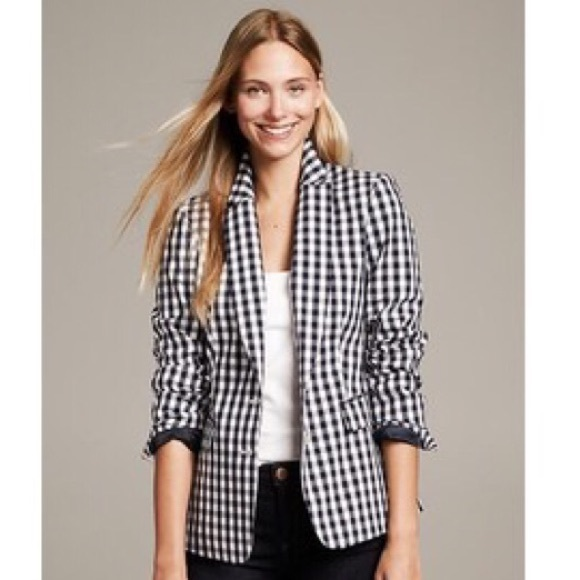 Banana Republic Jackets & Blazers - BANANA REPUBLIC black gingham blazer ladies 4