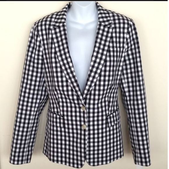 Banana Republic Jackets & Coats - BANANA REPUBLIC black gingham blazer ladies 4