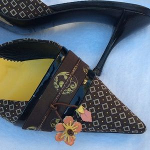 Prada Brown W/ Floral Embellish Pointed-Toe Mule