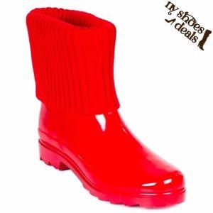 Women's Sock Cuff Rubber Rain Boots RB-1906