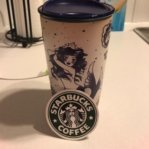 Starbucks Accessories | Ceramic Mermaid Travel Mug And Sticker ...