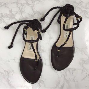 Authentic Jimmy Choo Black Gladiator Flats Sandals