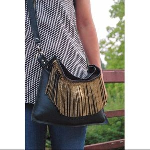 The Lux Gold Fringe Leather Bag