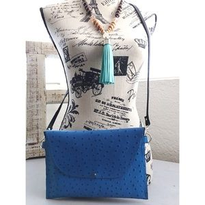 Electric Blue Ostrich Clutch