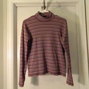 Woolrich Size Small Mauve Striped Turtleneck