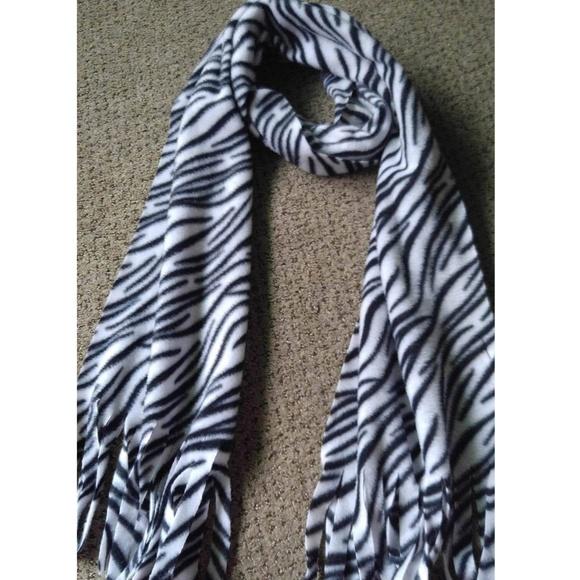 Black white zebra print scarf