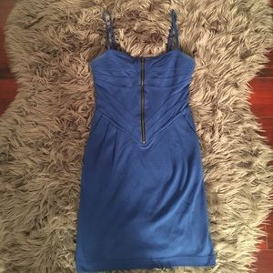 Spaghetti strap blue zip up dress