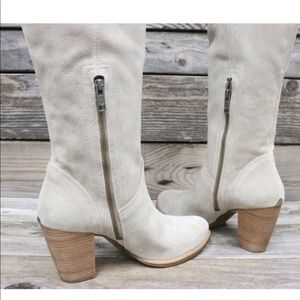 UGG Shoes - UGG Ava Natural Tall Suede Sheepskin Heels Boot 11