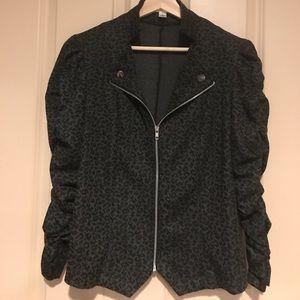 Leopard print knit moto jacket
