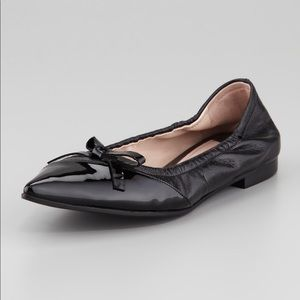 MIU MIU Leather Black Pointy Bow Flats 7