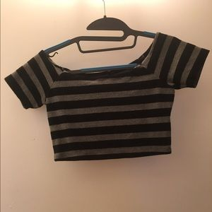 Black and grey stripped crop top