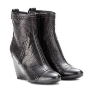 Balenciaga Blk Leather Wedge Ankle Boots 38.5 8