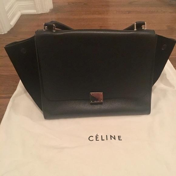 Celine Handbags - Celine Medium Trapeze Black Leather and Suede Bag ccedc25d5a5f6