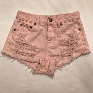 Forever 21 Pink Destroyed Shorts