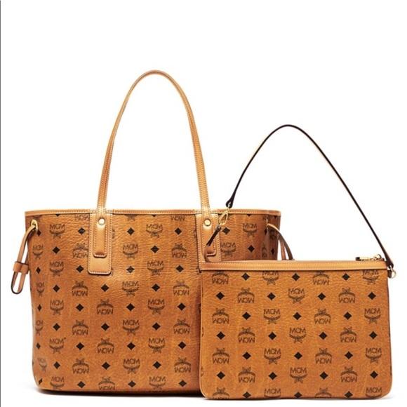 29 off mcm handbags mcm liz shopper medium cognac. Black Bedroom Furniture Sets. Home Design Ideas