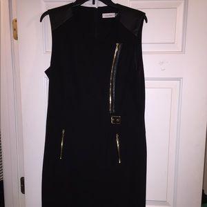 Black Calvin Klein Sleeveless Tuxedo Dress