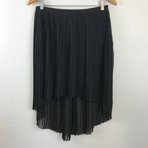 Black Pleated Chiffon High Low Skirt, Sz L
