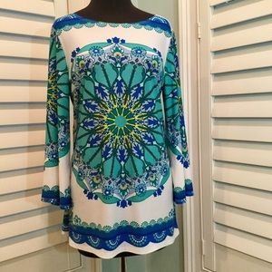 Sunny Leigh Tunic, Medallion Print, Medium, EUC