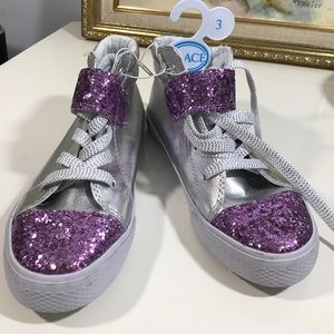 Other - GIRLS Purple glitter and silver high top sneakers