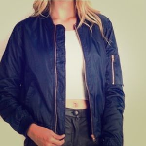 Navy bomber jacket w Rose Gold zipper accents