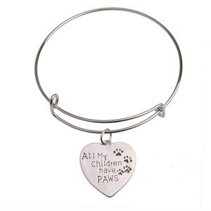 Jewelry - Dog mom heart love pet charm bracelet paws woof