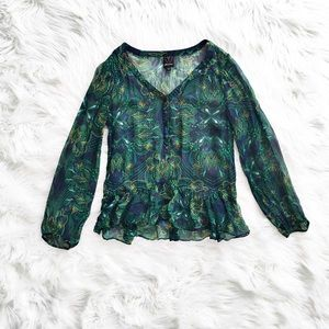 Ella Moss printed sheer silk blouse