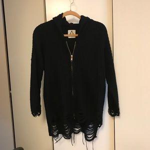 Unif destroyed zip up cardigan XS