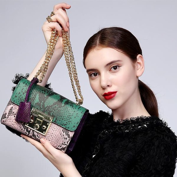 selfmadebabes.com Handbags - Padlock Python Shoulder Bag: Genuine Leather