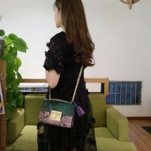selfmadebabes.com Bags - Padlock Python Shoulder Bag: Genuine Leather