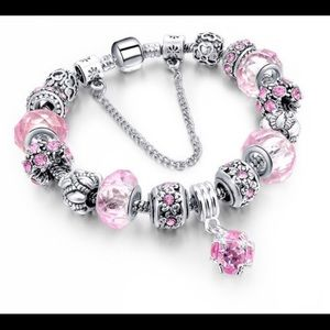 Pink Murano Glass Swarovski Crystal Bracelet NWT
