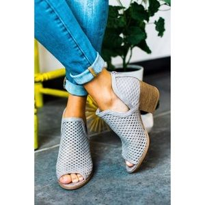 Shoes - Ash Gray Perforated Cut Out Peep Toe Booties