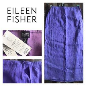 NEW! Eileen Fisher Purple Linen Maxi Skirt Sz M