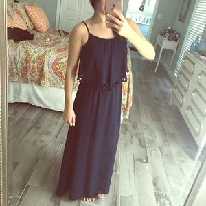 Navy blue tasseled maxi dress