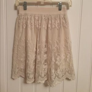 XXI creamy lace lined full skirt