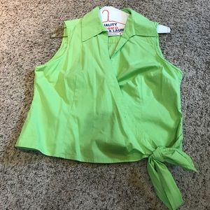 Sleeveless green wrap around top
