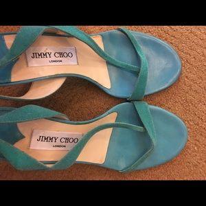 Jimmy Choo turquoise/Tiffany blue strappy heels