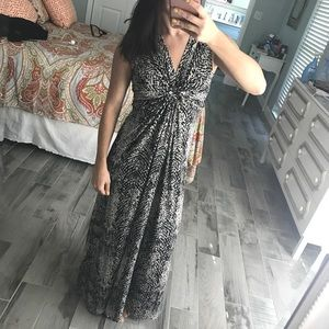Black and Tan printed maxi dress