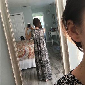 Dresses - Black and Tan printed maxi dress