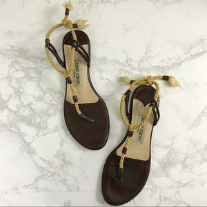 Jimmy Choo Gold Brown Gladiator Flats Sandal