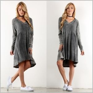Mineral Wash Hooded Midi Dress in Gray
