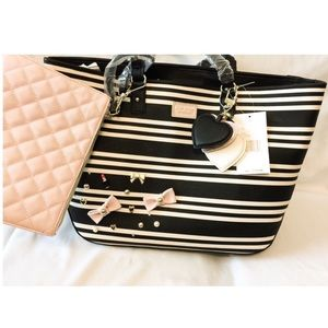 New Betsey Johnson Tote & Clutch, Black & White!
