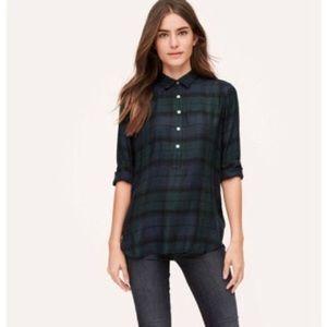 LOFT XL The Softened Shirt Plaid Button Blouse