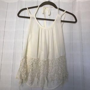 Halter/double strap open back lace bottom blouse