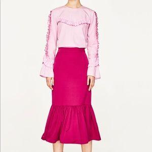 Zara Skirts - Zara Frilled Midi Skirt