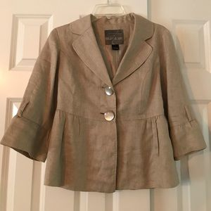 Mac & Jack Taupe Linen Ruffle Jacket Blazer size 8