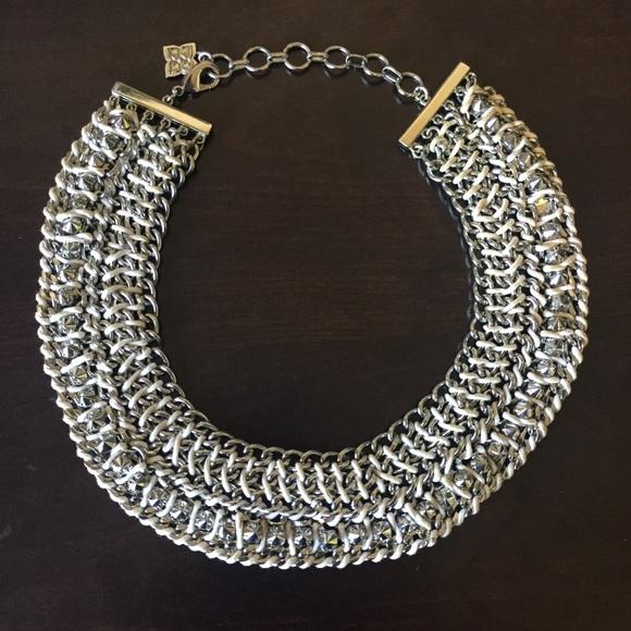 38% off BCBGMaxAzria Jewelry - BCBGMAXAZRIA Woven Chain Silver Spike Necklace from Danielle's ...