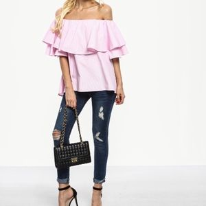 Tops - New Item-Off The Shoulder Ruffle Blouse in Pink