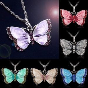 Butterfly Crystal Silver Pendant Necklace WOMEN
